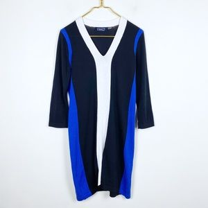 Magaschoni Long Sleeve Color-Block Sweater Dress